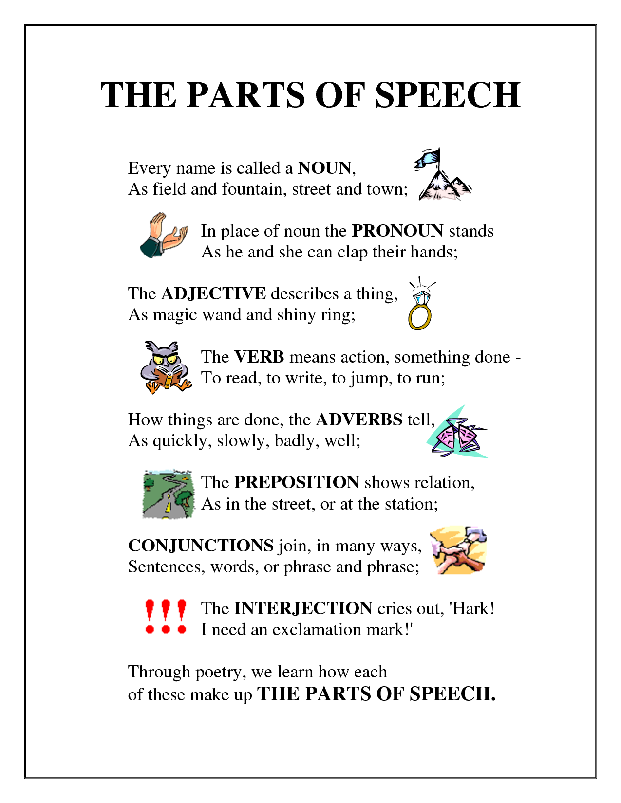 Parts of Speech Poem